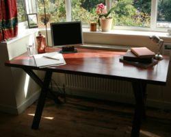 Pine desk metal legs